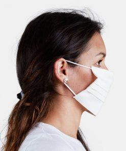 Máscara facial lavável e reutilizável branca (5 unidades)